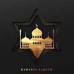 Ramadan vector background. Effect of the cut paper five-pointed star with mosques with text of Ramadan Kareem. Creative design greeting card, banner, poster. Traditional Islamic holy holiday