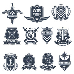 Military logos and badges. Army symbols isolated on white background
