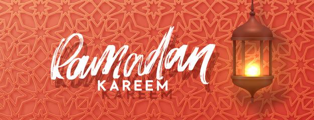 Ramadan vector, Eid Mubarak horizontal greeting banner with arabic calligraphy Ramadan Kareem. Realistic old Arabic lamps lanterns with shiny fire hanging on traditional arabesque pattern background.