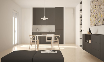 Minimalist modern bright kitchen with dining table and chairs, big windows, white and gray architecture interior design