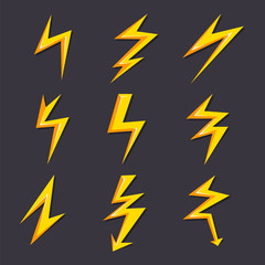 Vector cartoon illustrations of lightning set isolate. Stylized pictures for logo design