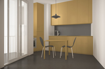 Minimalist modern kitchen with big window and dining table with chairs, gray and yellow architecture interior design