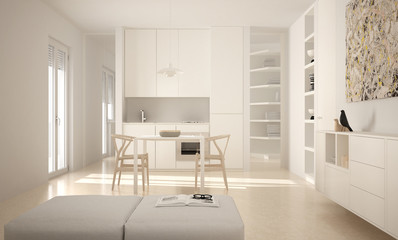 Minimalist modern bright kitchen with dining table and chairs, big windows, white architecture interior design