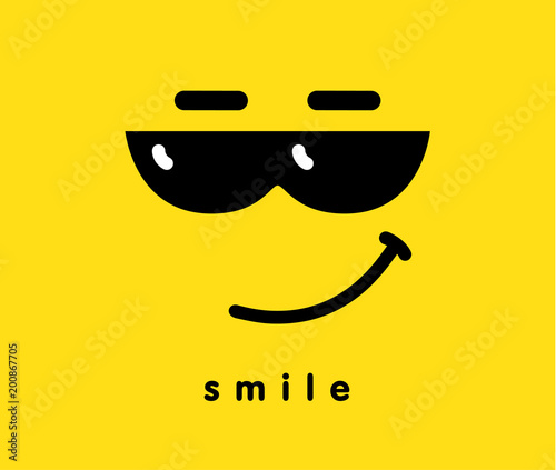 0486361dc9b Smile with sunglasses icon emoji template design. Emoticon with smiling face  wearing dark sunglasses