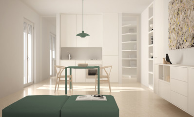 Minimalist modern bright kitchen with dining table and chairs, big windows, white and green architecture interior design