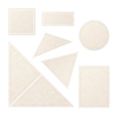 Set of realistic old blank post stamps with paper texture on white