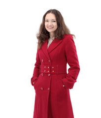 closeup.portrait of a smiling young woman in red coat.