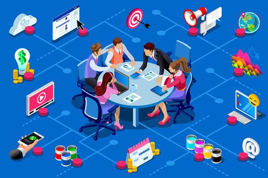Advertising work idea isometric image