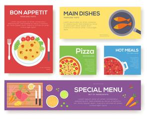 Cooking set cards with menu vector background. Cooking menu banner design