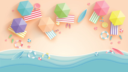 top view beach background with umbrellas,balls,swim ring,sunglasses,surfboard, hat,sandals,juice,starfish and sea. aerial view of summer beach in paper craft style.paper cut and craft style. vector.