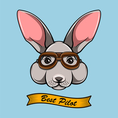 Bunny face avator glasses. Puppy in a pilot goggles.  illustration