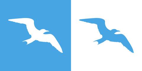 Icono plano silueta gaviota en azul y blanco