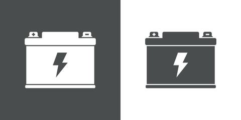 Icono plano bateria electrica gris y blanco