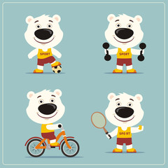 Fotobehang Beren Set of funny polar bear is engaged in sports. Collection of cartoon polar bear of the sportsman: football player, with dumbbells, bicyclist, tennis player.