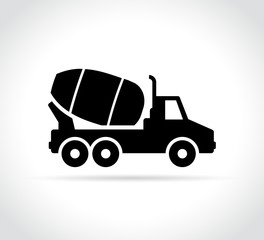 cement truck mixer vector icon