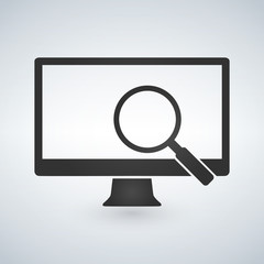 computer monitor and magnifying glass icon. Vector illustration isolated on modern background.