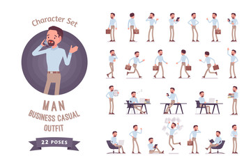 Smart business casual man ready-to-use character set