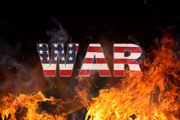 Grunge American flag, war concept with fire flames.