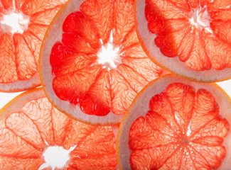 Bright fresh grapefruit slices, back light transparent fruit.