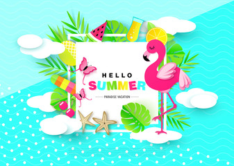 Hello Summer banner with Sweet Vacation Elements. Paper Art. Tropical plants, butterflies,pink flamingo, pineapple, ice cream, cherry, orange, cocktail, watermelon,starfish, clouds. Vector.
