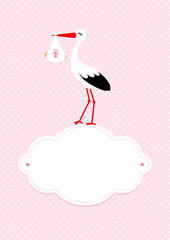 Baby Card Girl Stork Black/White Cloud Rose