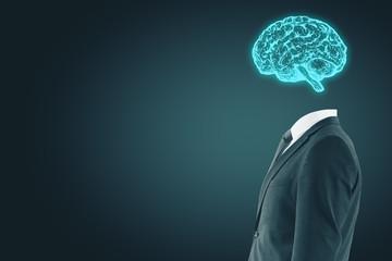 Businessman with digital brain