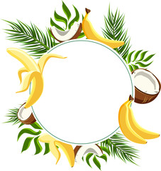 White round background with bananas and coconuts.