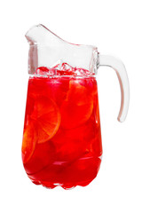 Single-colored, transparent red cocktail in a jug with ice cubes and orange slices, lemon flavored with berries, cherries, grapefruit. Side view. Isolated white background. Drink for the menu