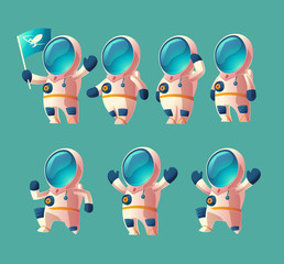 Vector set of cartoon spaceman kid, moving cosmonaut in spacesuit, child in helmet isolated on blue background. Futuristic clothing for exploration of cosmos, galaxy, space.