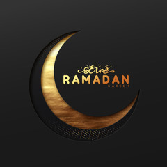 Ramadan vector background. Effect of the cut paper with the embossed Arabic calligraphic text of Ramadan Kareem. Creative design greeting card, banner, poster. Traditional Islamic holy holiday