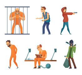 Criminals and prisoners. Set of characters in cartoon style
