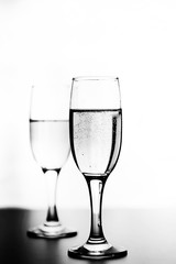 monochrome photo of champagne on white table on white background