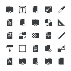 Modern Simple Set of folder, files, design Vector fill Icons. ..Contains such Icons as  icon, upload,  enlargement,  storage,  symbol, time and more on white background. Fully Editable. Pixel Perfect.