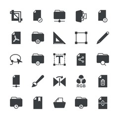 Modern Simple Set of folder, files, design Vector fill Icons. ..Contains such Icons as video,  concept,  data,  file,  art, triangle, check and more on white background. Fully Editable. Pixel Perfect.