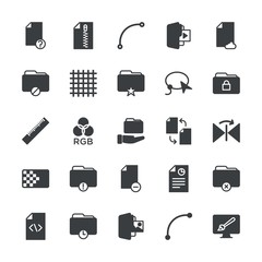 Modern Simple Set of folder, files, design Vector fill Icons. ..Contains such Icons as close,  remove, folder,  file,  information,  shape and more on white background. Fully Editable. Pixel Perfect.