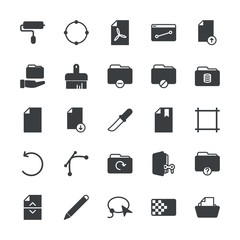 Modern Simple Set of folder, files, design Vector fill Icons. ..Contains such Icons as  brush,  computer,  folder, upload,  icon,  paper and more on white background. Fully Editable. Pixel Perfect.