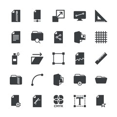 Modern Simple Set of folder, files, design Vector fill Icons. ..Contains such Icons as paper,  blank, document, triangle,  ruler,  contract and more on white background. Fully Editable. Pixel Perfect.