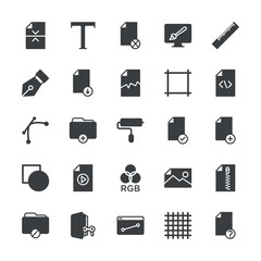 Modern Simple Set of folder, files, design Vector fill Icons. ..Contains such Icons as  work, hidden,  icon,  grid,  background,  file and more on white background. Fully Editable. Pixel Perfect.