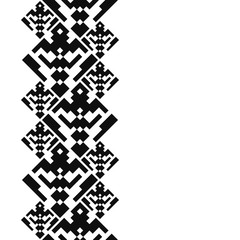 Tattoo belt. Tribal card in american indian style. Seamless border for design. Ethnic tiled ornament on white background. Navajo pixel tiles.