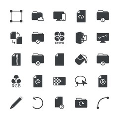 Modern Simple Set of folder, files, design Vector fill Icons. ..Contains such Icons as  smooth,  internet,  error,  computer,  data,  bound and more on white background. Fully Editable. Pixel Perfect.