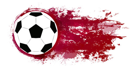 Illustration of a soccer ball with watercolor splashes and grunge scratches.  Vector element for your design