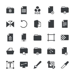 Modern Simple Set of folder, files, design Vector fill Icons. ..Contains such Icons as  work, hidden,  folder,  confidential,  icon, paint and more on white background. Fully Editable. Pixel Perfect.