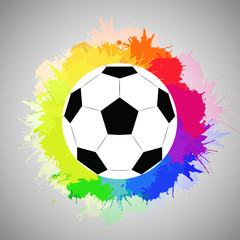 White soccer ball with watercolor rainbow spray. Vector element for feeding sports articles, invitations, banners and your design
