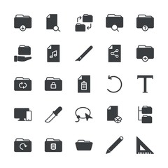 Modern Simple Set of folder, files, design Vector fill Icons. ..Contains such Icons as  add, triangle,  isolated,  empty,  symbol,  icon and more on white background. Fully Editable. Pixel Perfect.