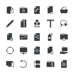 Modern Simple Set of folder, files, design Vector fill Icons. ..Contains such Icons as  screen,  cloud,  modern,  design,  laptop,  zip and more on white background. Fully Editable. Pixel Perfect.
