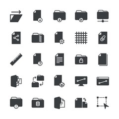 Modern Simple Set of folder, files, design Vector fill Icons. ..Contains such Icons as network, folder,  technology,  database,  secret and more on white background. Fully Editable. Pixel Perfect.