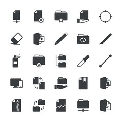 Modern Simple Set of folder, files, design Vector fill Icons. ..Contains such Icons as  business,  icon,  office,  pen,  modern, document and more on white background. Fully Editable. Pixel Perfect.