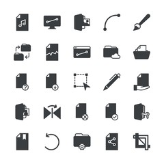 Modern Simple Set of folder, files, design Vector fill Icons. ..Contains such Icons as  document,  corrupt, file,  icon, rotation,  white and more on white background. Fully Editable. Pixel Perfect.