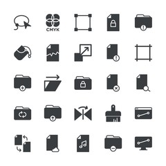 Modern Simple Set of folder, files, design Vector fill Icons. ..Contains such Icons as  trim, folder,  cloud,  work, data,  choice,  cut and more on white background. Fully Editable. Pixel Perfect.