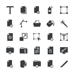 Modern Simple Set of folder, files, design Vector fill Icons. ..Contains such Icons as  illustration,  drawing, paint, enlarge,  data, box and more on white background. Fully Editable. Pixel Perfect.
